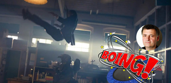 """Collage of Danny Pink magically jumping over a Skovox Blitzer in """"The Caretaker"""""""